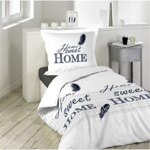 Kvalitní povlečení bílé barvy s nápisem Home sweet home