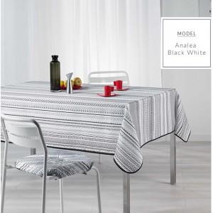 Ubrusy na jídelní stůl s moderním bílo černým vzorem