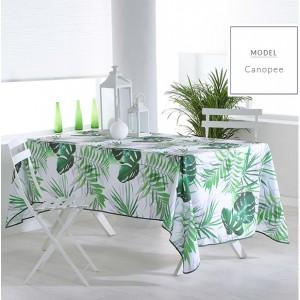 Zelený ubrus na stůl s motivem listů