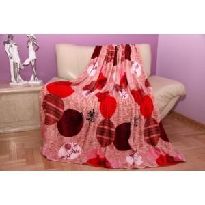 Červená hrubá deka z mikrovlákna se vzorem kruhů