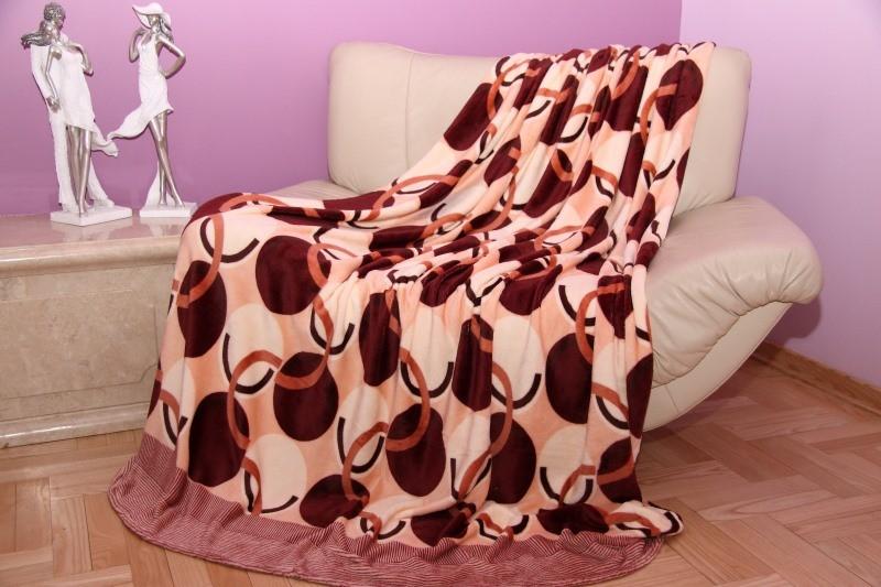 Krémová deka se béžovo - bordó vzorem