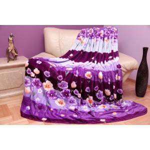 Moderní bílo - fialová deka s květinovým vzorem