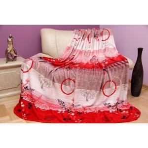 Luxusní bílo - červená deka z mikrovlákna