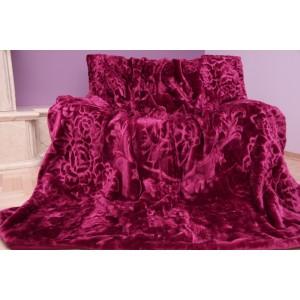 Moderní hrubá deka z akrylu vínové barvy