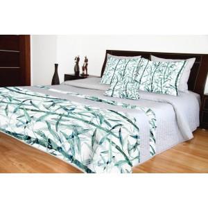 Přehoz na postel šedý se vzorem bambusu