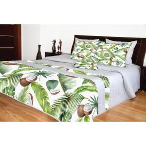 Šedý přehoz na postel s exotickým vzorem