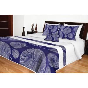 Luxusní přehoz na postel bílé barvy s motivem