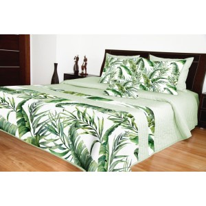 Zelený přehoz na postel s listy