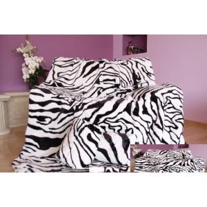 Luxusní deka z akrylu bílá s černými pruhy
