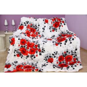 Bílo červená deka s květinovým vzorem
