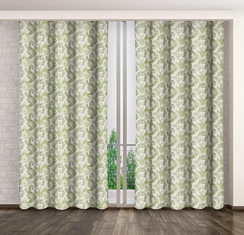Dekorační závěsy zatemňovací se zeleným vzorem