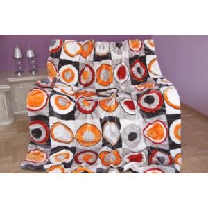 Bílo oranžová deka s kruhy
