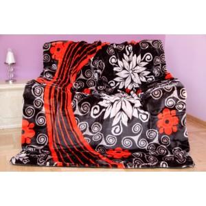 Černo - červená deka s bílým vzorem