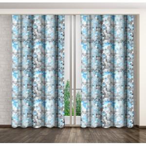 Okenní závěsy v modro šedé barevné kombinaci