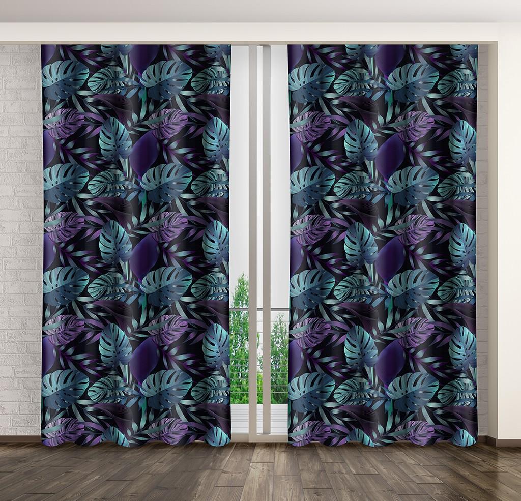 Luxusní závěs s motivem palmových listů