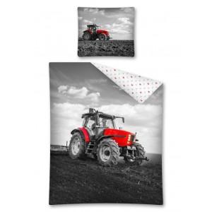 Povlečení pro chlapce v bílo-černé barvě s traktorem