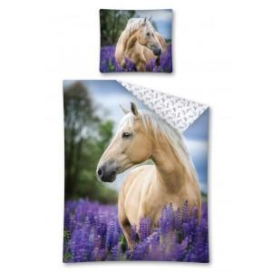 Povlečení na dětskou postel s koněm v levandulovém poli