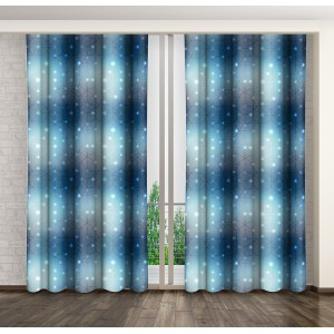 Modré ozdobné závěsy do ložnice