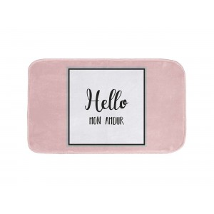 Růžová předložka do koupelny s nápisem