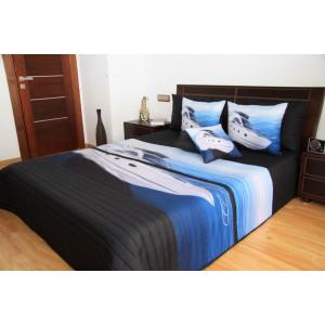 Přehoz na postel černé barvy s bílou lodí