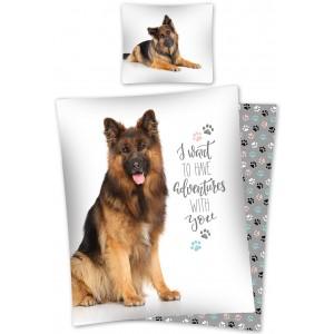 Bavlněné povlečení na postel pro děti s motivem psa