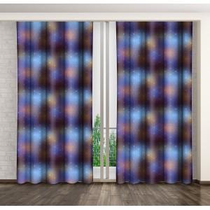 Fialovo modrý dekorační závěs do ložnice