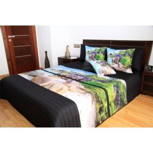 Černé přehozy na postel s motivem pláže