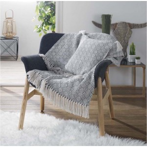 Luxusní světle šedá deka z bavlny