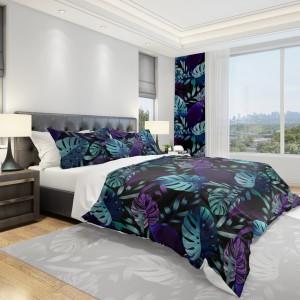 Povlečení na postel v černé barvě s velkými listy