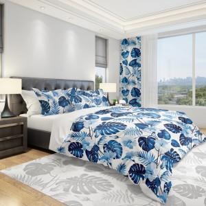 Moderní ložní povlečení s modrými květy