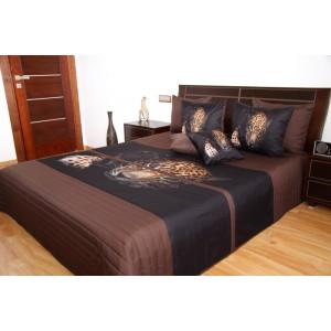 3D přehoz na postel hnědé barvy s leopardem