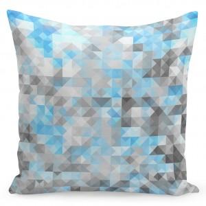 Šedý dekorační povlak na polštáře s jemným modrým motivem