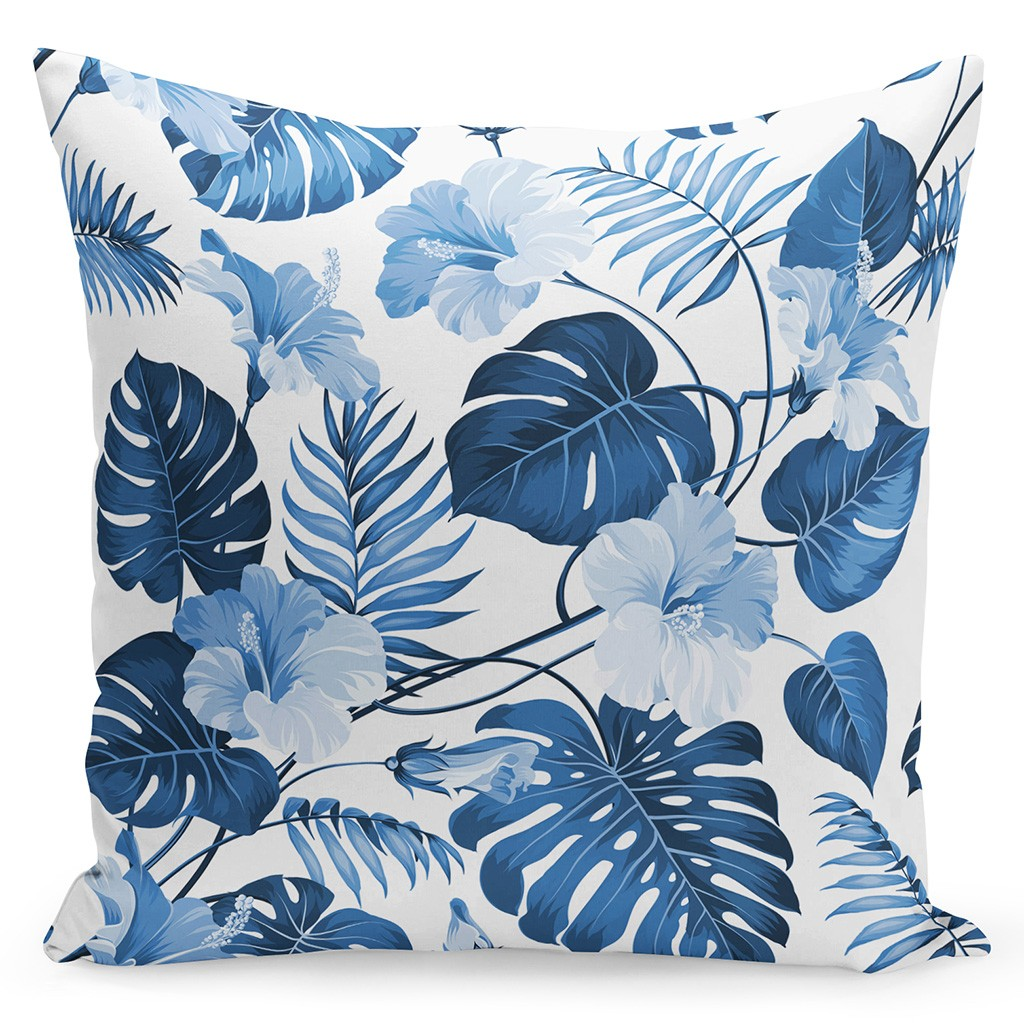 Originální povlak na polštář s modrými květy a listy