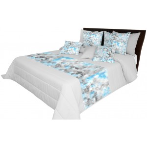 Modře šedý prošívaný přehoz na manželskou postel