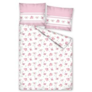 Bílé povlečení na postel pro zamilované s růžemi