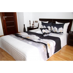 Bílé přehozy na postel s motivem orchidejí