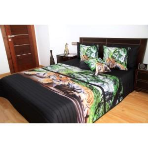 Černo zelené přehozy s motivem tygra