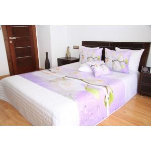 Bílo růžové přehozy na postel s orchidejemi