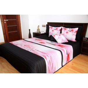 Růžovo černý 3D přehoz na postel s květinami