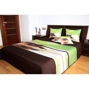Hnědo zelený přehoz na postel s motivem orchidejí
