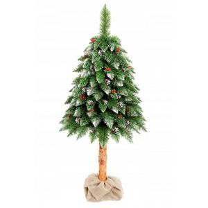 Umělý vánoční stromeček 180 cm vysoký na kmenu se šiškami