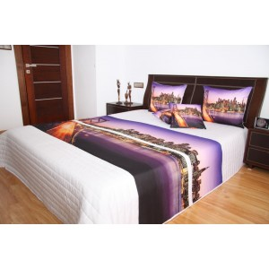 Přehoz na postel bílé barvy s motivem města San Francisco