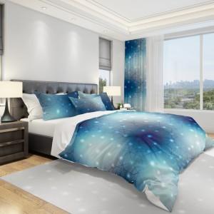 Moderní povlečení do ložnice v modré barvě s 3D vzorem