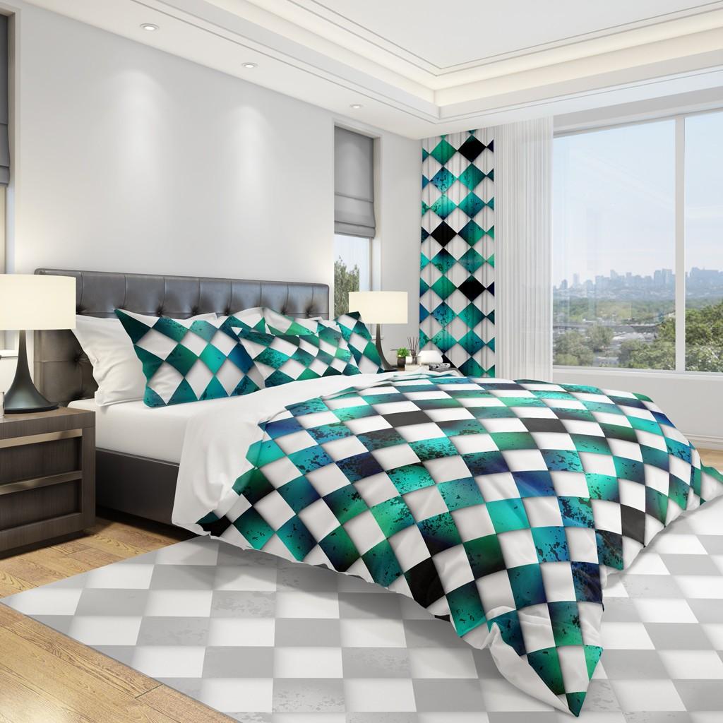 Moderní ložní povlečení s bílo zelenou šachovnicí