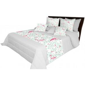 Přehoz na postel s barevným motivem plameňáka