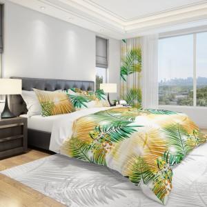 Bílé ložní povlečení se žlutými a zelenými palmovými listy
