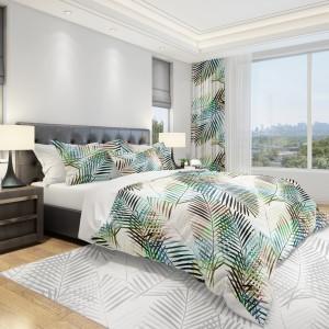 Bílé povlečeni do ložnice s palmovými listy