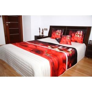 Přehoz na postel krémové barvy s motivem červené růže a bílého vína