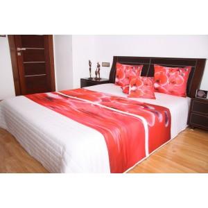 Přehoz na postel bílé barvy s motivem červených orchidejí