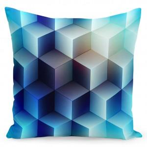 Moderní povlak na polštáře v modré barvě s motivem kostek